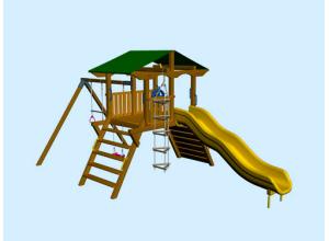 Детская игровая площадка с двухэтажным домиком, горкой и песочницей