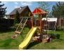 Деревянная детская площадка с домиком горкой и песочницей