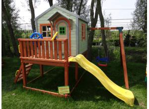 Детский игровой комплекс с домиком, горкой и качелью MD_015